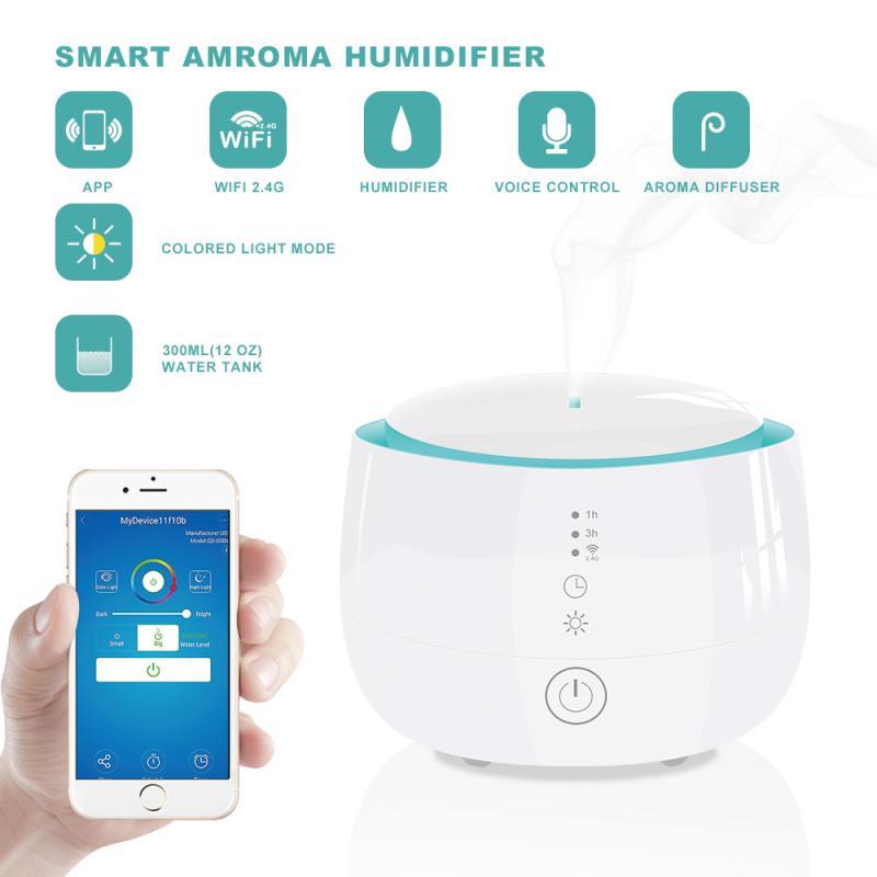 Wireless Smart Home Aroma Humidifier Tuya APP Remote Control Humidifier Compatible With Amazon Alexa Google Home