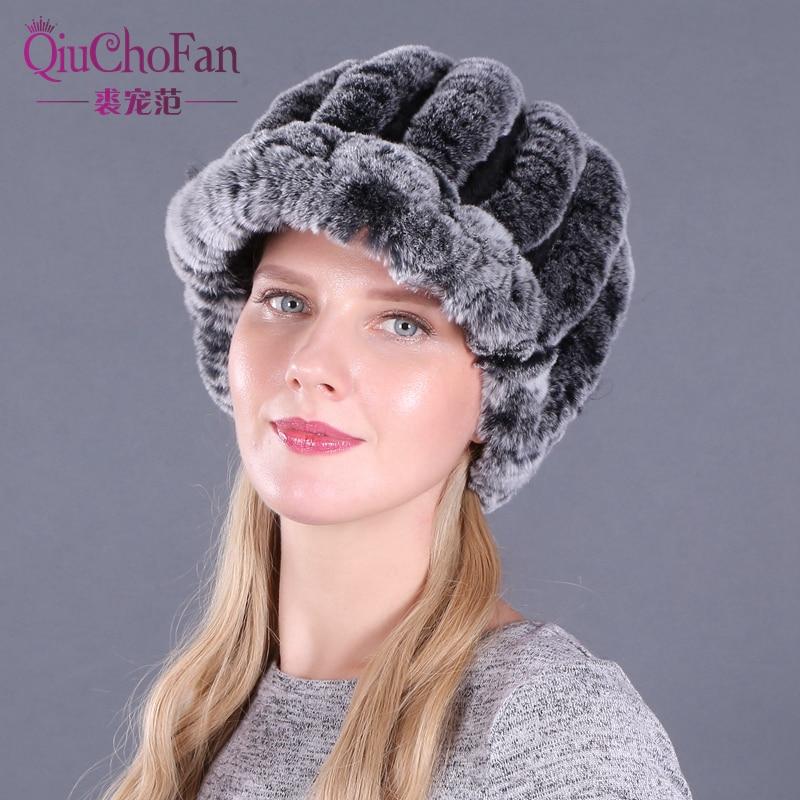 Sombrero de piel de Invierno para mujer de punto genuino de piel de conejo Rex sombreros de piel Natural a rayas de Invierno para mujer abrigo de piel de conejo Rex hecho a mano tapas