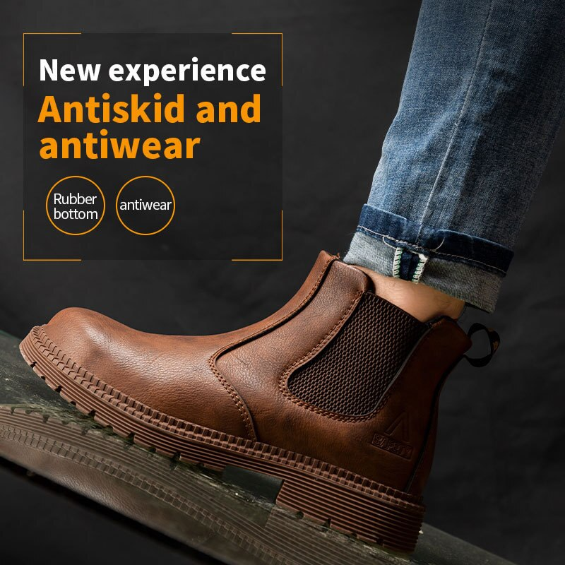 AliExpress - Steel Toe Shoes Waterproof Work Safety Boots Men and Women High-top Soft Chelsea Boots Outdoor Construction Industrial Shoes