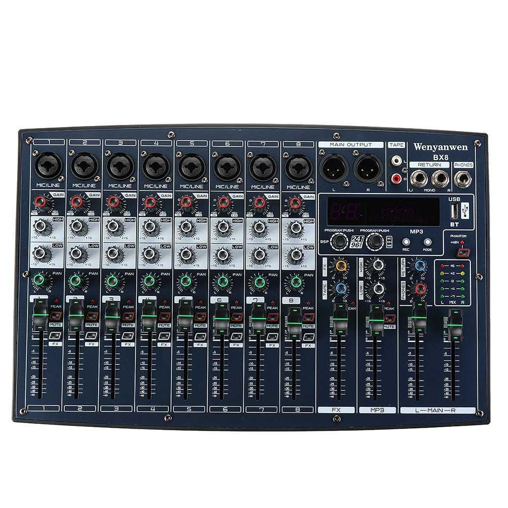 Mezclador de Audio profesional EU PLUG BX6 BX8 DJ 6/8 canales 2 bandas 16 DSP USB Mini Audio de estudio en vivo consola mezcladora efector Digital