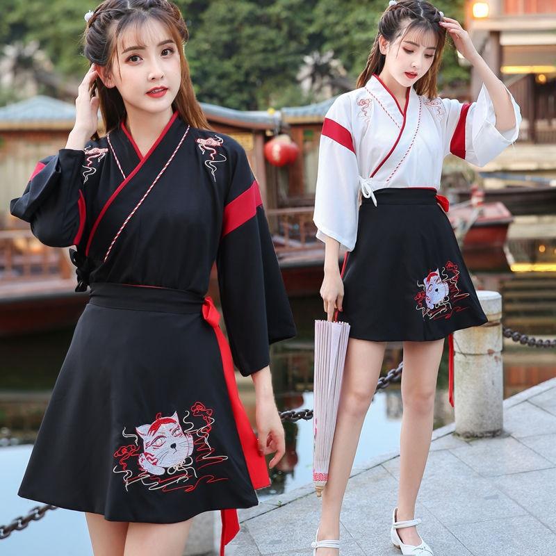 Vestido japonés Kimono mujer negro blanco gato bordado dulce Vintage ropa asiática Yukata Haori Cosplay fiesta 2 piezas conjunto