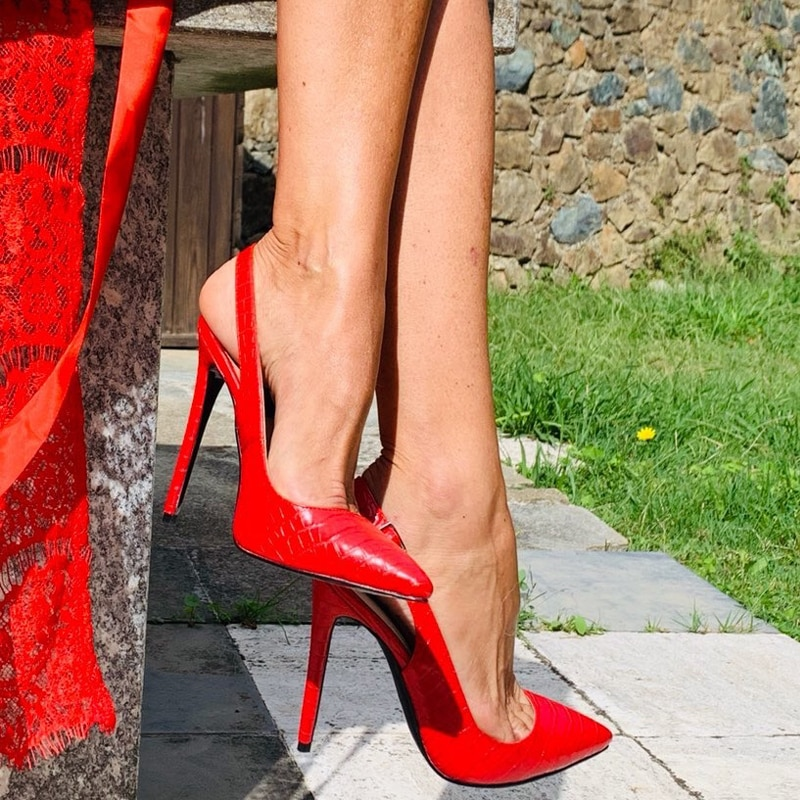 Onlymaker Women's 12CM Slingback High Heels Pumps Red Color Pointed Toe Ankle Strap Fashion Sandals Big Size US5~US15 onlymaker women s pointed toe block classic 12cm high heels slip on thick shoes wedding office dress big size chunky lady pumps