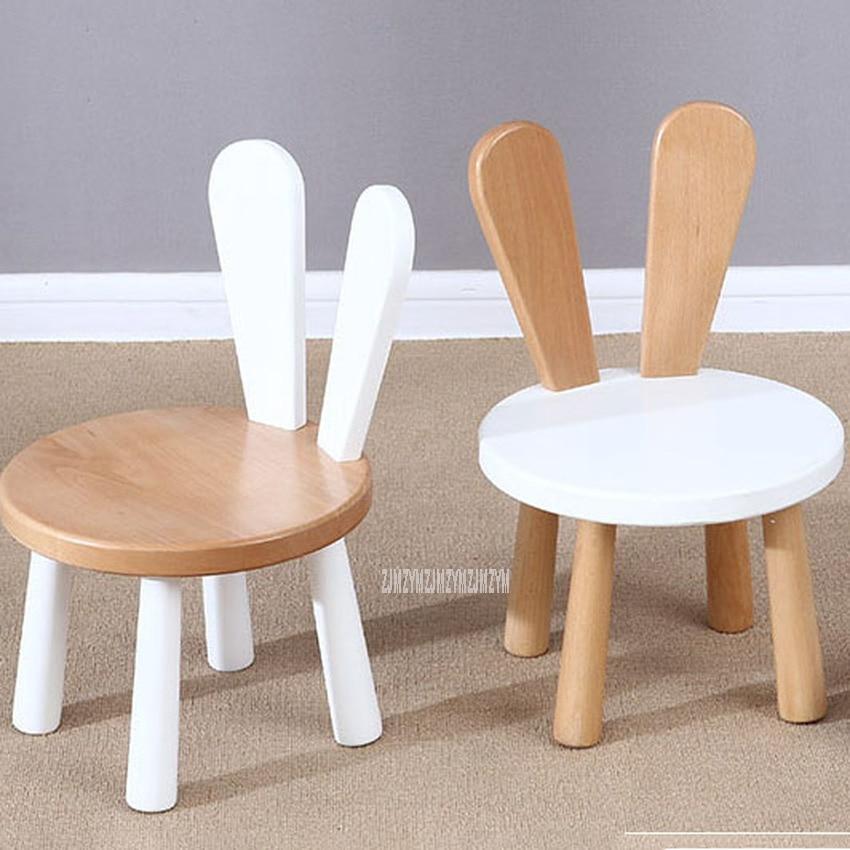 Милый детский стул из массива сосны с кроликом на спине, детский стул, стол, детский набор, Детская школьная мебель для учебы, детского сада