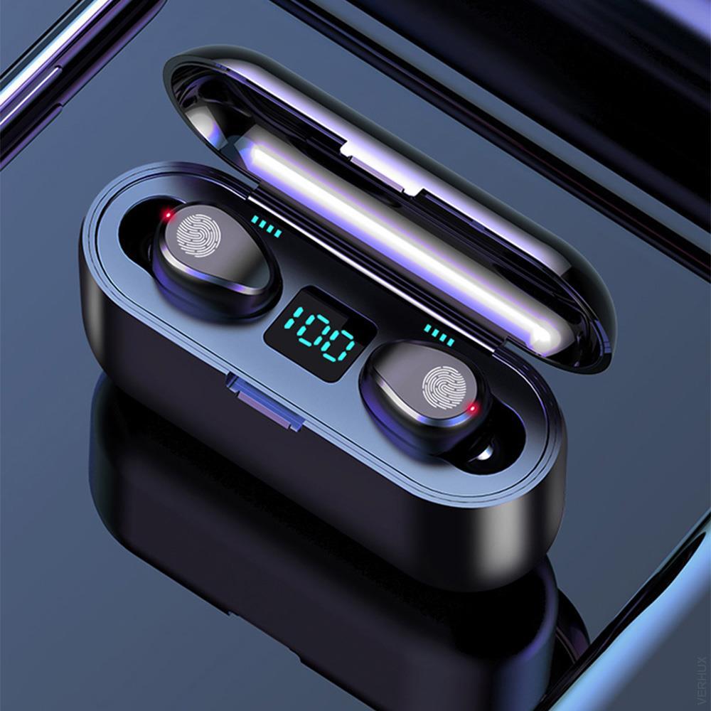 F9 TWS Wireless Headsets Large Capacity Charging Box Bluetooth-compatible Earphones Sport Waterproof