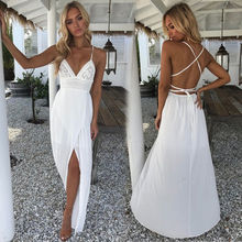 Bohoเซ็กซี่ฤดูร้อนชายหาดชุดสตรีFemmeชุดดอกไม้สีขาวลึกVคอเอวสูงข้อเท้า-ความยาวrobe