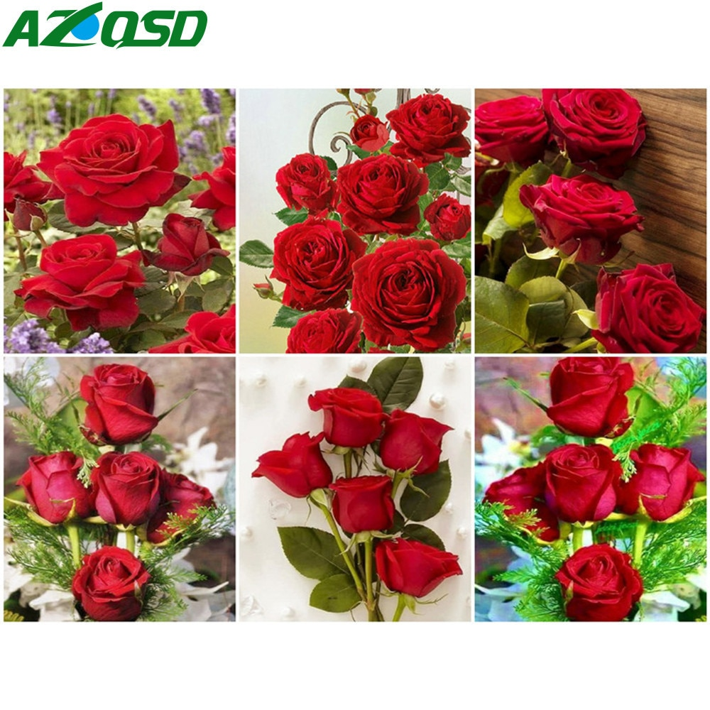 AZQSD DIY Oil Painting By Number Rose Hand Painted Modern Wall Picture Numbers Flower Kits Handmade Room Decoration