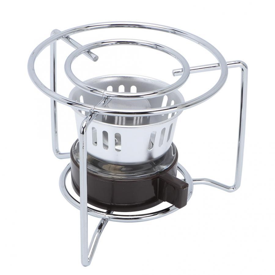 Fogão rack de aço inoxidável portátil ao ar livre mini fogão aquecimento com rack para álcool sólido combustível acampamento piquenique grill