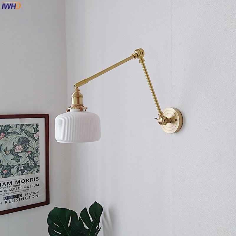 IWHD النحاس الشمال طويل الذراع الجدار تركيبات إضاءة غرفة نوم المعيشة مرآة حمام عاكس الضوء السيراميك تعديل الحديثة وحدة إضاءة LED جداريّة مصباح