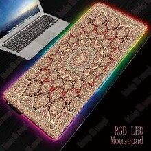 Alfombrilla de ratón RGB LED para juegos de estilo persa MRGBEST, alfombrilla de escritorio de 350x600/350x900mm, alfombrilla de ratón grande con brillo