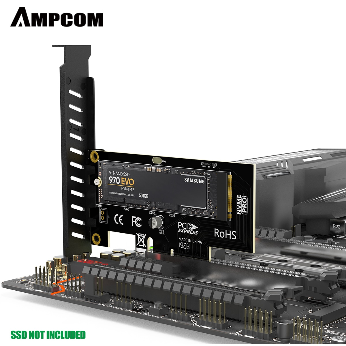 AMPCOM M.2 NVMe SSD Express Card M Key to PCIE 4.0 X4 Adapter External SSD Support 230-2280 Size M.2 FULL SPEED