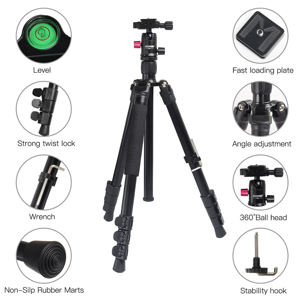 ZOMEI Aluminum Camera Tripod Monopod Stand Lightweight Selfie Stick Smartphone Tripode flexible with Ball Head for Phone DSLR enlarge