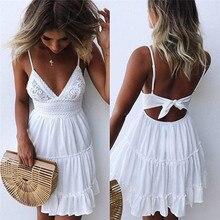 Sexy V-neck Bow Backless Mini Beach Dresse  Sleeveless Mini Ruffle White Summer Beach Dress 2020 New Arrivals