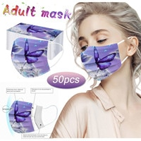 50PCS face masks on the mouth Breathable Adult butterfly print Disposable Three Layer Face Mask mondkapjes mascarillasdetela