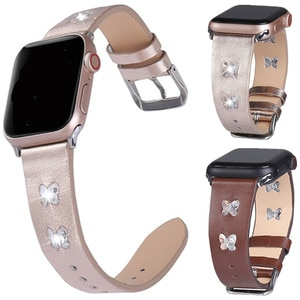 Genuine Leather Band Crystal Butterfly Strap For Apple Watch 4 3 2 1 38mm 40mm Watch Band for iwatch 5 44mm 42mm Bracelet