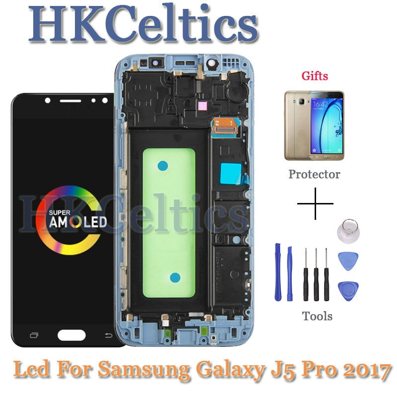 "Novedad de 100%, pantalla LCD Super AMOLED J530F para Samsung Galaxy J5 Pro 2017, pantalla táctil con marco de 5,2 ""J5 2017 SM-J530F, pantalla LCD"