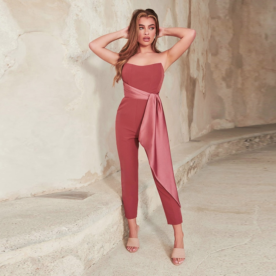 Solid Color Contrast Jumpsuit 2021 New Fashion  Stitching Patchwork Wrapped Chest Open Back Sexy Celebrity Cocktail Party Jumpsu