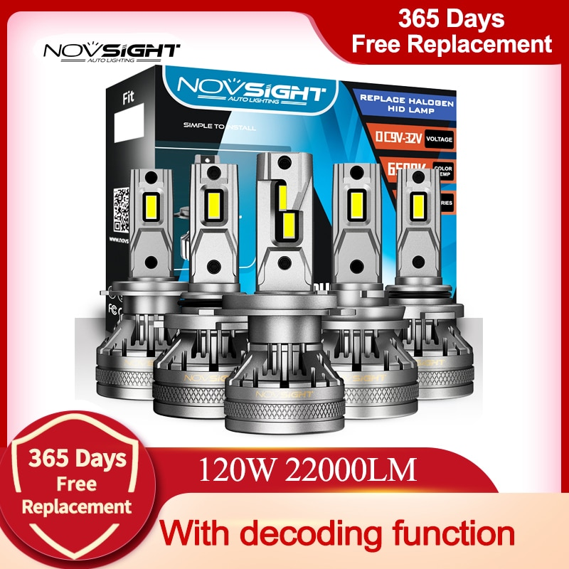 NOVSIGHT H7 Led Car Headlight Bulbs H4 H11 H8 H9 H1 H3 9004 9005 9006 9007 120W 22000LM Decoder Auto Headlamp 6500K Fog Lights