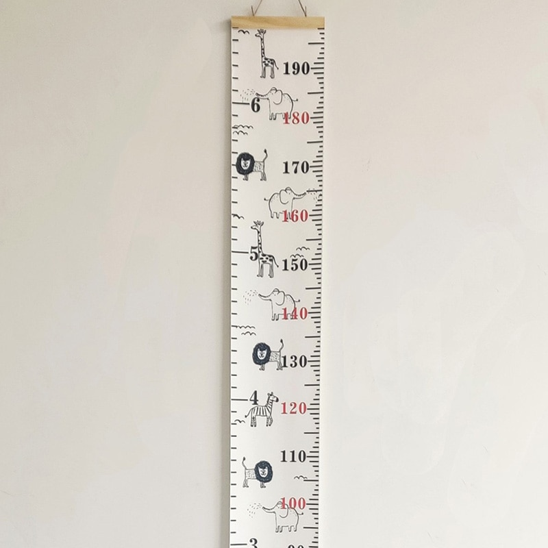 5-200CM Wood Frame Canvas Height Measurement Ruler Kids Growth Chart Ruler Cartoon Animal Nursery Room Removable Wall Decor