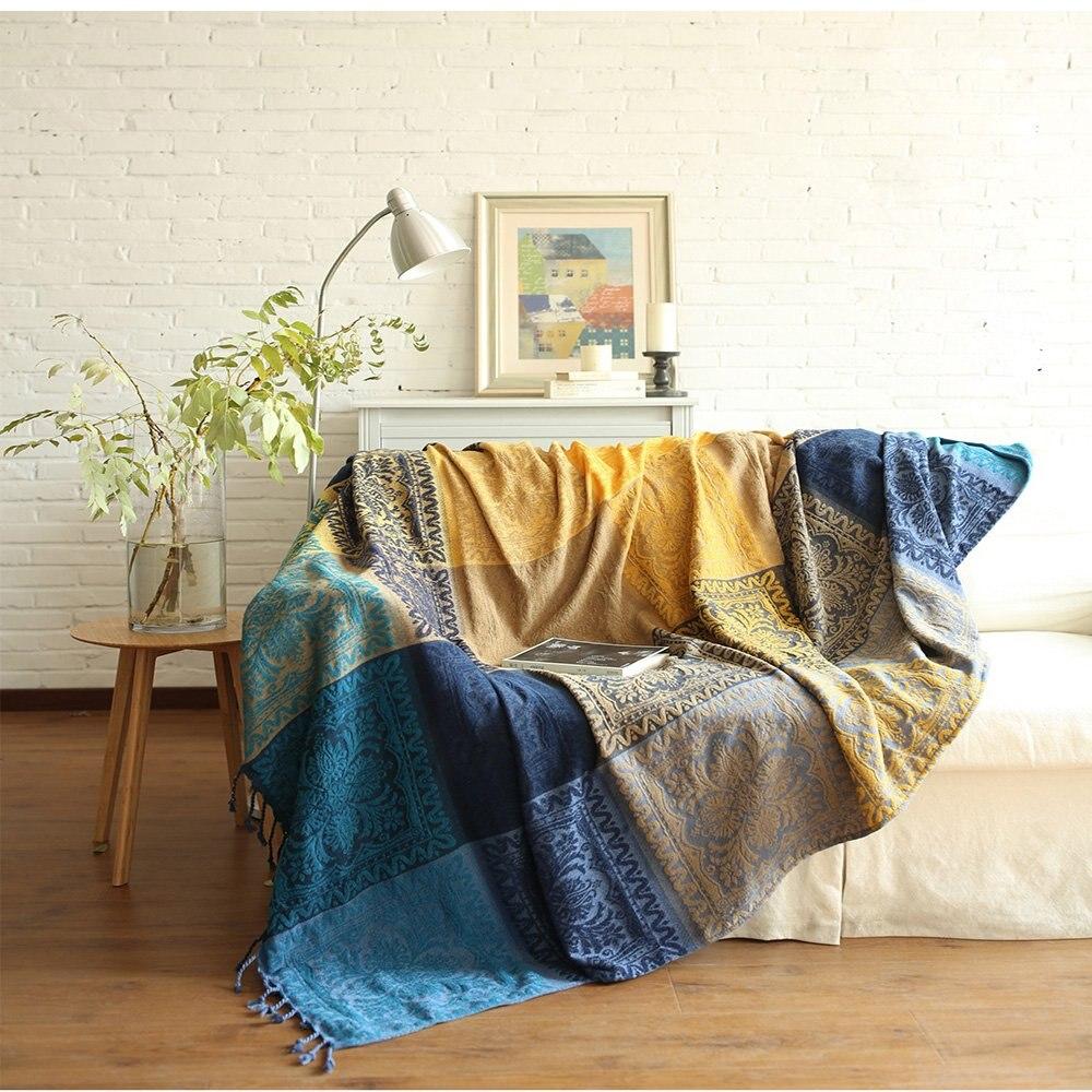 Funda de algodón sofá toalla con la escoba de sillón/loveseat manta Plaid throw funda de sofá caso literaria decoración del hogar