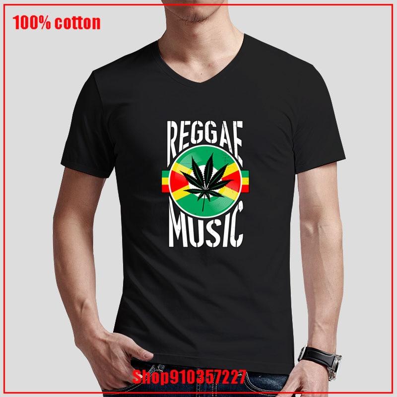Reggae música Rasta Jamaica Canabbis vinilo mejor regalo Idea blanco cuello pico camiseta de alta calidad tops diseño creativo camisa formal