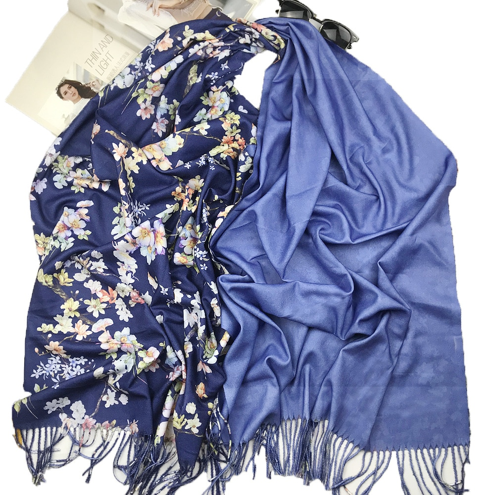 Vintage Fashion Scarf Women Winter Warm Flower Pattern Tassel Scarves Designer Luxury Long Print Wraps Shawl