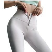 autumn new zipper sports pants high waist lift hip yoga leggings women workout fitness trousers gym breathable running tights