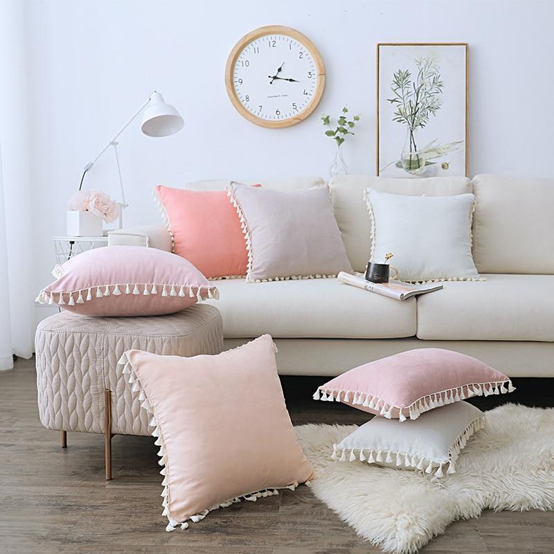 غطاء وسادة من الدانتيل مع شرابة ، غطاء وسادة من جلد الغزال على الطراز الاسكندنافي ، shopify ، لون سادة ، للأريكة ، وردي