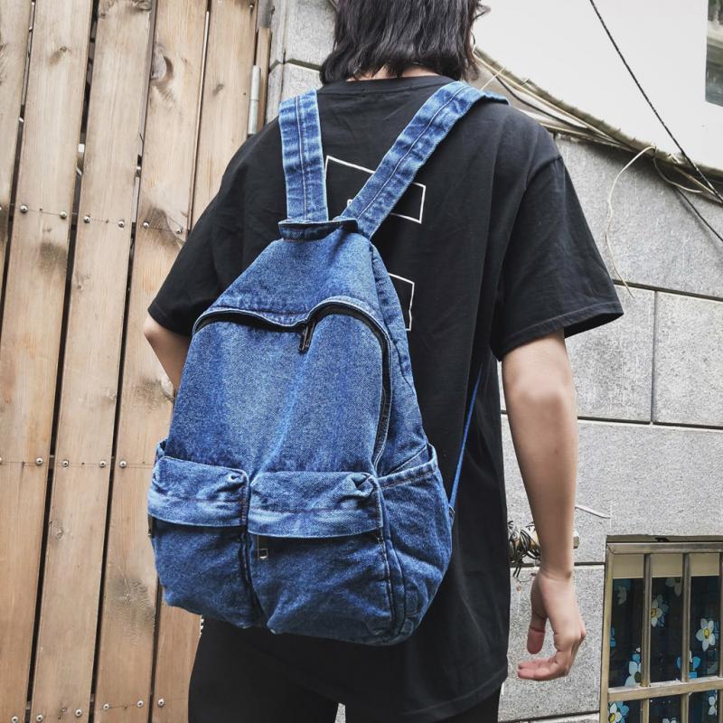 أزياء السيدات الدنيم حقيبة كتف الإناث خمر حقائب الكتف الدنيم الرجعية Harajuku حقيبة سفر الطالب