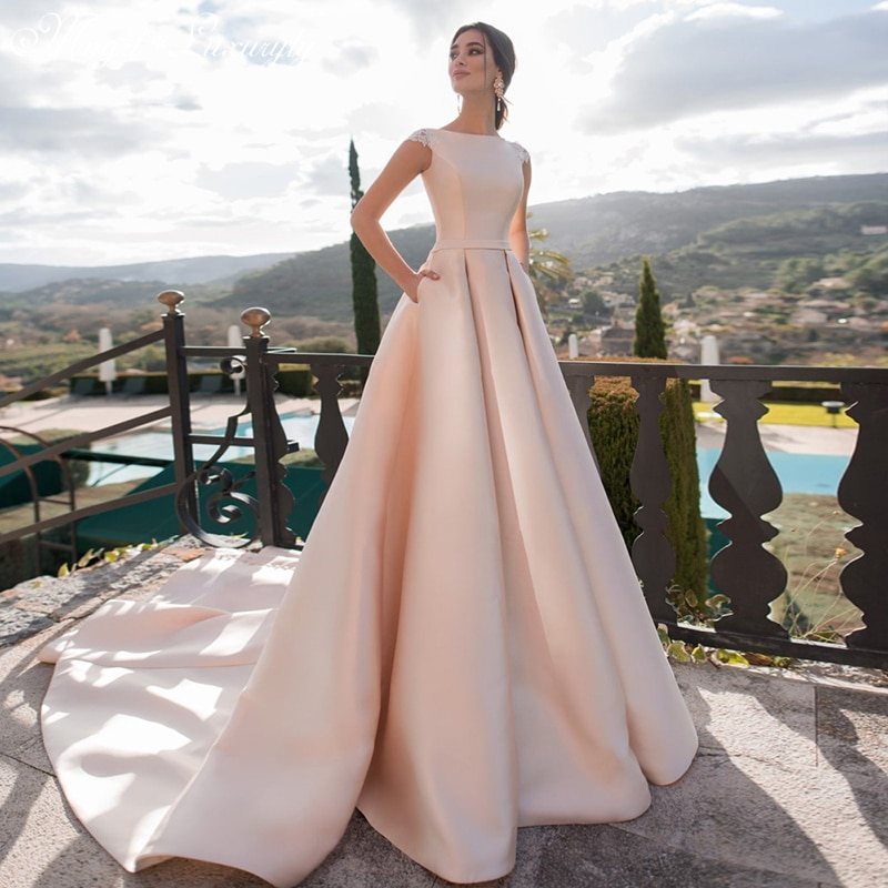 Get Luxury Matte Soft Satin A-line Wedding Dresses O Neck Sleeveless Sweetheart Gowns Lace Button 50cm Train