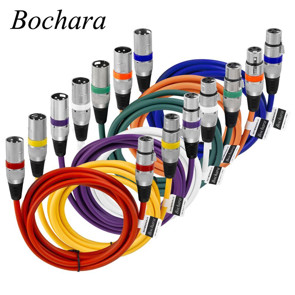 Bochara-Cable XLR macho a hembra M/F de 3 pines OFC, lámina de...