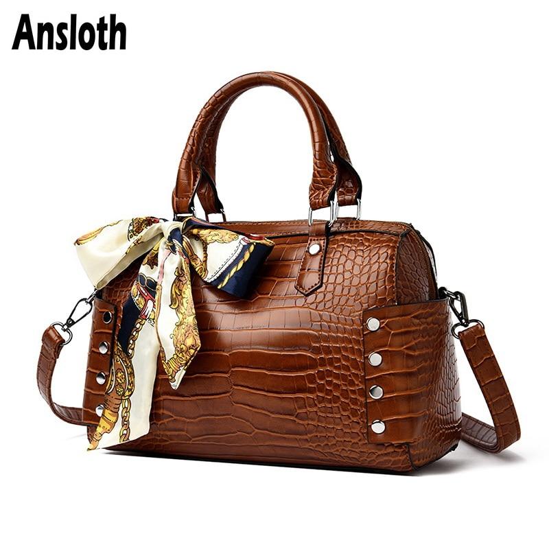 Ansloth Crocodile Pattern Shoulder Bags Women Scarf Handbags Luxury Crossbody Bags Rivet Messenger Bags Female Handle Bag HPS793