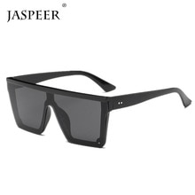JASPEER Male Flat Top Sunglasses Men Brand Black Square Shades UV400 Gradient Sun Glasses For Men Co