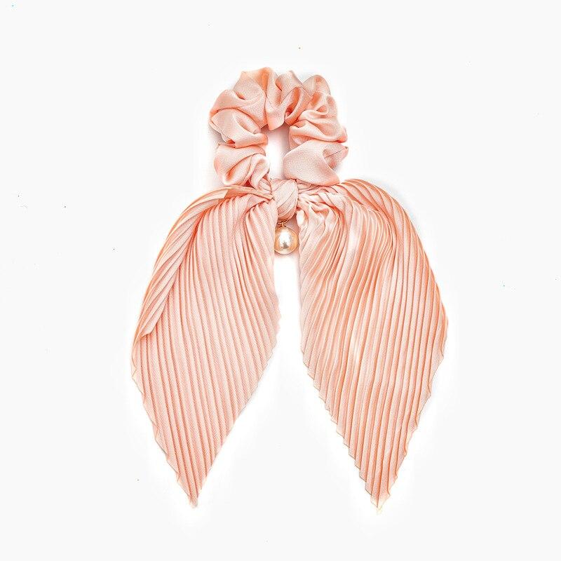 Luxury Satin Scrunchies Hair Ribbons Pearl Hair Accessories For Women Girl Elastic Hair Ring Hair tie Ponytail Holder Rubber
