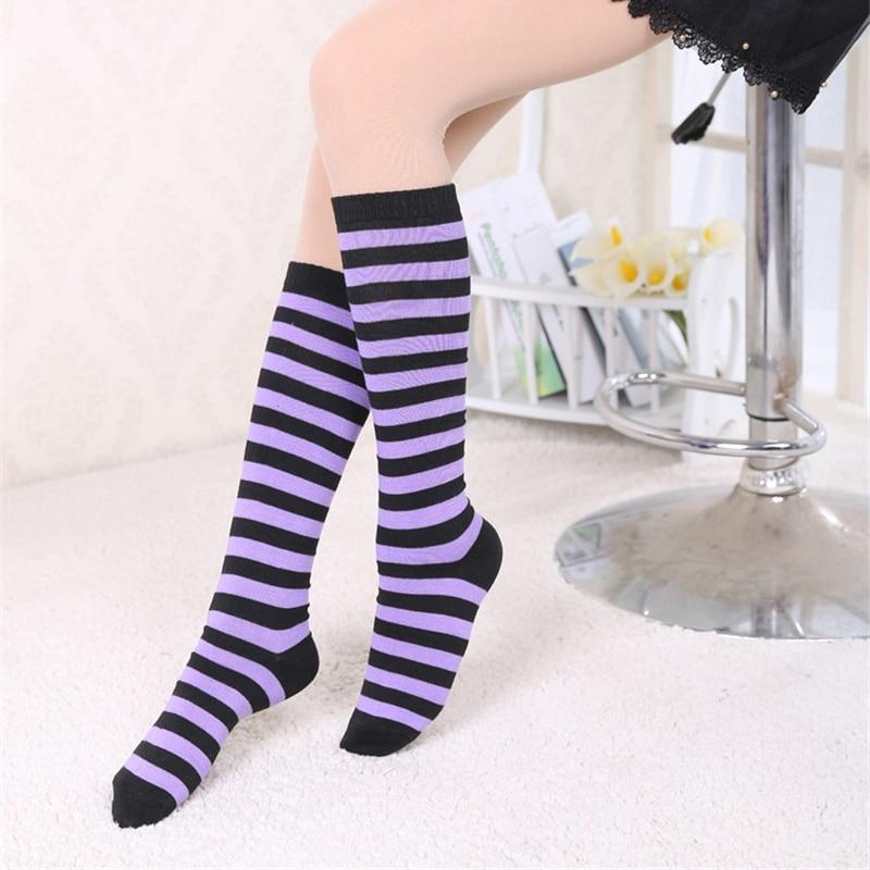 AliExpress - Women Girls Knee High Long Stripe Stocking Printed Thigh High Striped Cotton Socks 8 Colors Sweet Cute Plus Size Knee High Socks