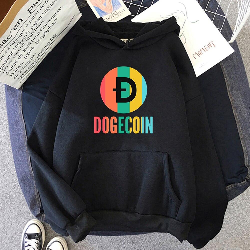 Толстовка Dogecoin с капюшоном «Луна», Женская толстовка, хлопковая свободная толстовка с круглым вырезом, флисовая толстовка, кавайная толсто...
