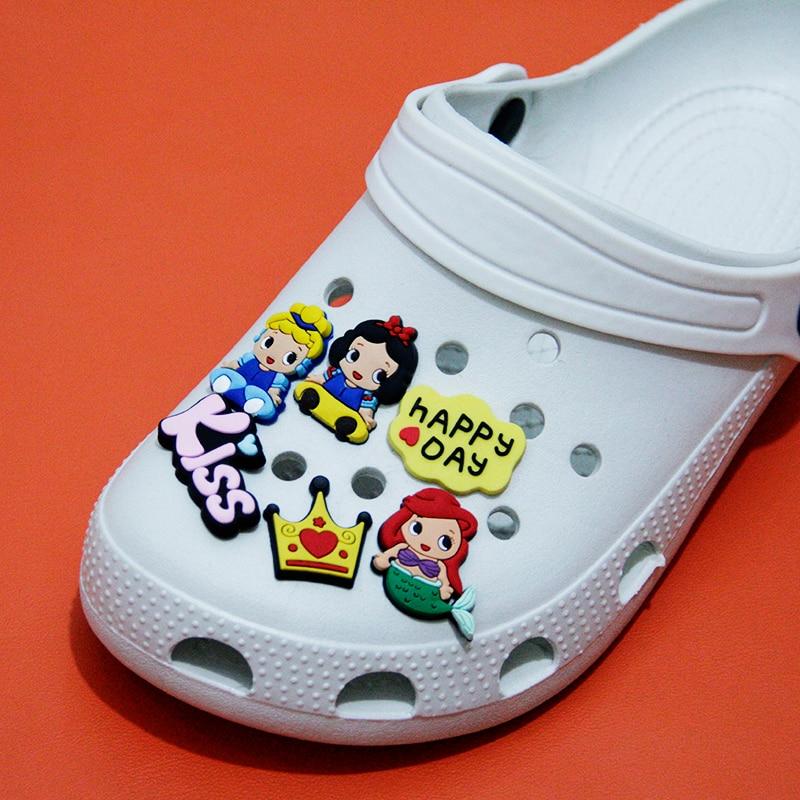 Распродажа, украшение для обуви принцессы из ПВХ, аксессуар с пряжкой для обуви, ремешок, браслет, Croc JIBZ, детская Рождественская вечеринка