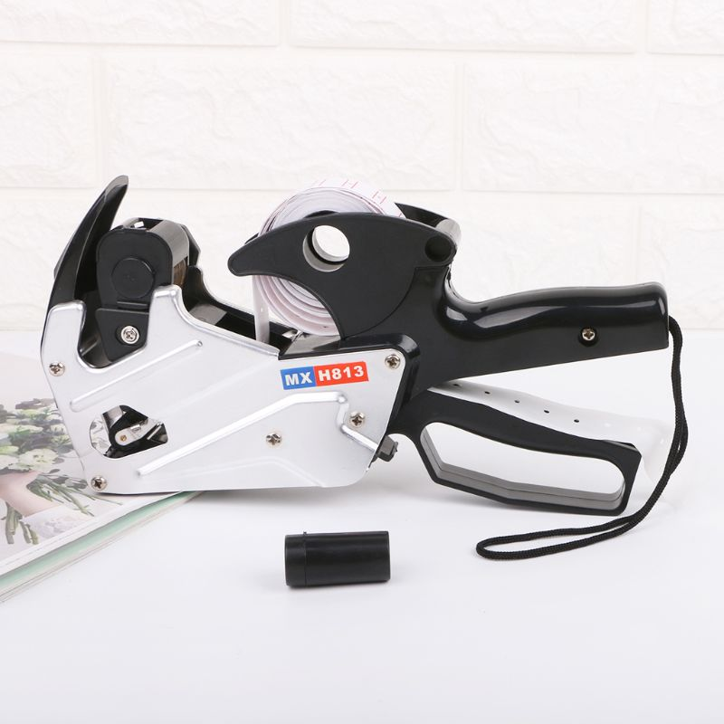 MX-H813 A-line 8 Digits Price Tag Labeler Labeller Label Paper For Retail Store Pricing Tag Display Tool + Ink Roller