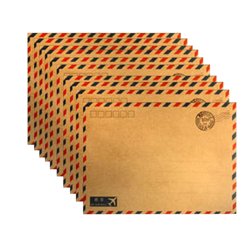 10 hojas de café caliente kraft Air Mail sobre postal papel de almacenamiento estacionario