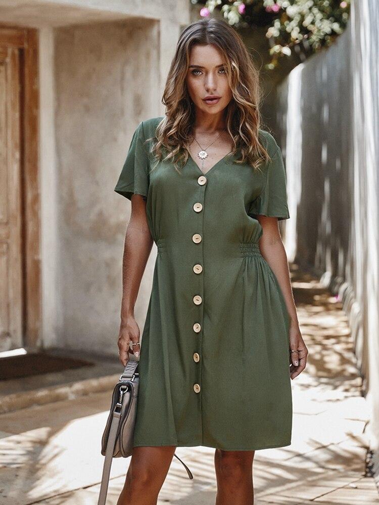 Vintage buttons women Dress shirt V neck short sleeve cotton linen summer office dresses Elegant Fashion Casual korean vestidos