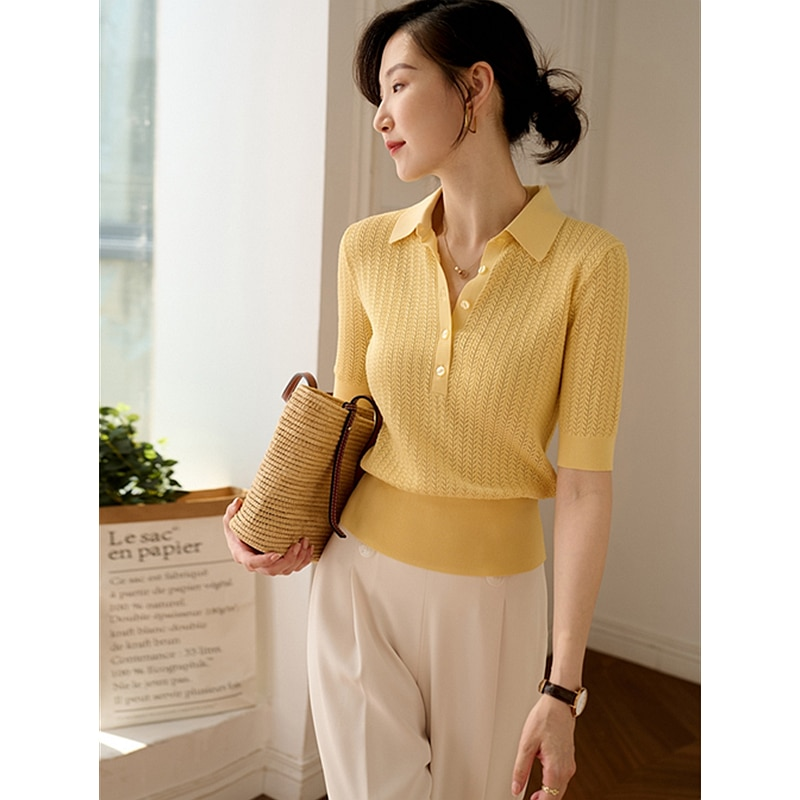 T-shirt Women Linen Silk Blended Knitted Hollow Turn-down Collar Short Sleeves 3 Colors Ladies Casual Top Ladies New Fashion