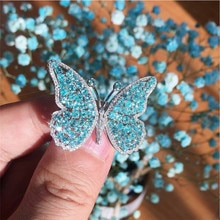 LETAPI Neue 925 Sterling Silber Schmetterling Ringe mit AAAAA Zirkon Blau Stein Frauen Mode Partei Schmuck Geschenke