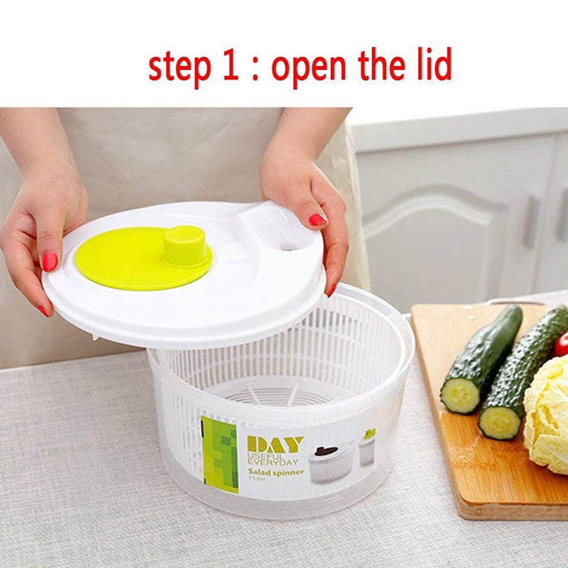 1 Uds. Secadora de verduras giratoria de ensalada cesta de frutas cesta de lavado de frutas lavadora de almacenamiento máquina de secado herramientas de cocina útiles