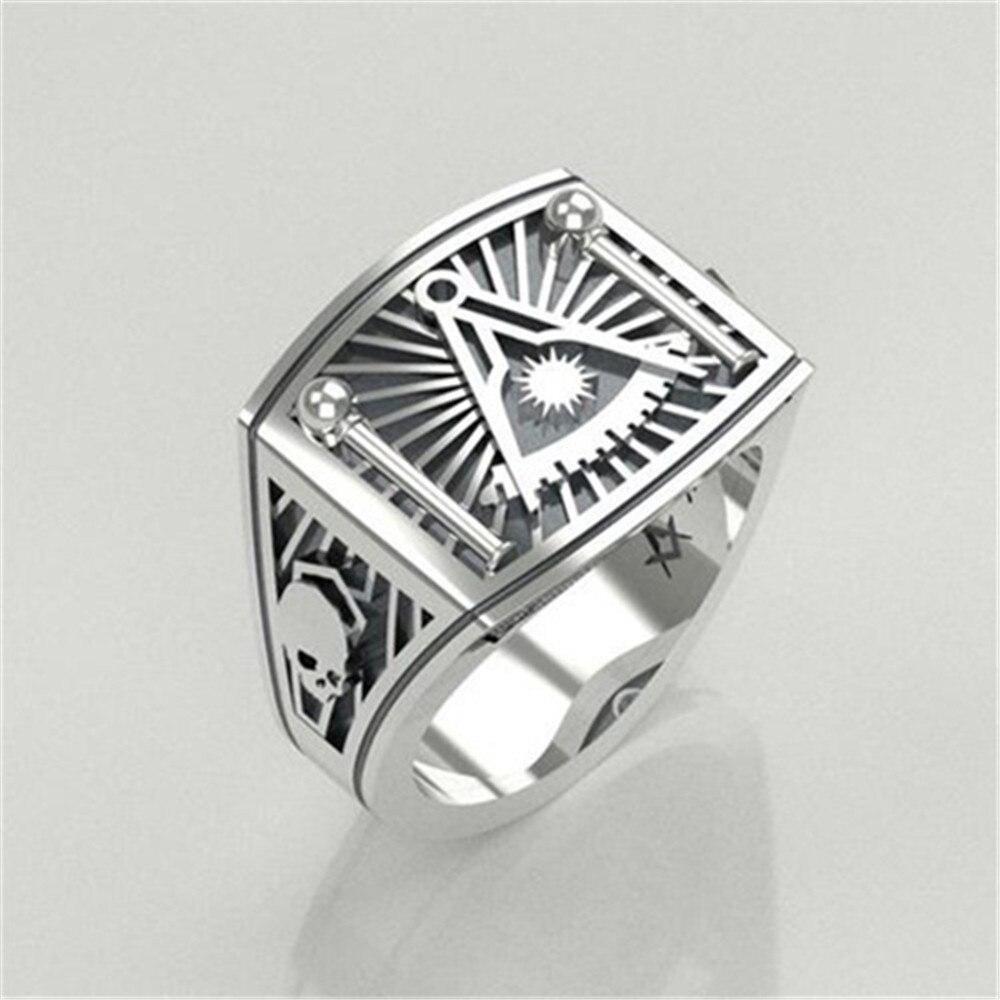 Chuhan masonic sun rings homens estilo punk freesonry livre mason moda legal antigo prata cor marca jóias acessórios