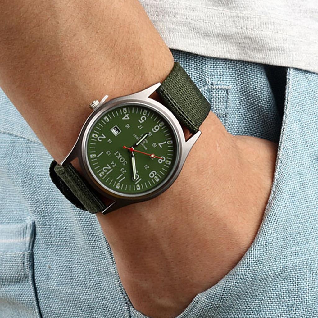 SOKI Fashion Woven Nylon Belt Men Calendar Watch Casual Retro Quartz Wristwatches Bracele military Male Clock Relogio Masculino