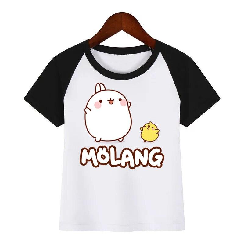 Artoon Molang and Piupiu симпатичная футболка с принтом кролика Детская летняя футболка детская модная одежда футболка мультяшная футболка