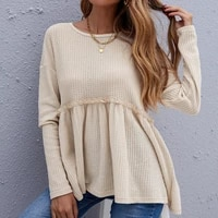 2021 autumn womens waff plaid sweater loose casual new round neck solid color long sleeved sweater women hot sale oversized top