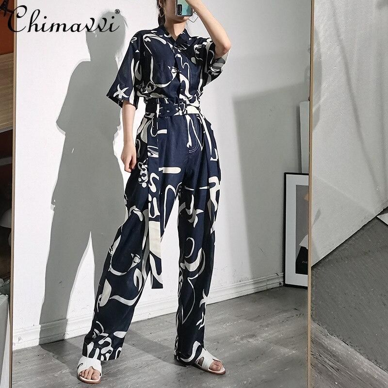 Универсальный модный уличный костюм в стиле ретро, костюм из двух предметов с принтом, женский топ с короткими рукавами и отложным воротник...