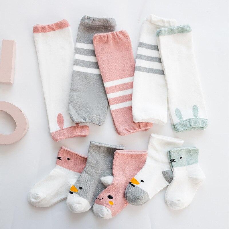 Bebê perna aquecedores meias definir recém-nascidos joelheiras infantil meias dos desenhos animados para meninas menino crianças algodão rastejando protetor meia 0-3y