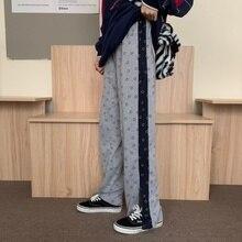 Real Shot Cotton Spring and Autumn Sports Pants Female Harem Pants Contrast Color