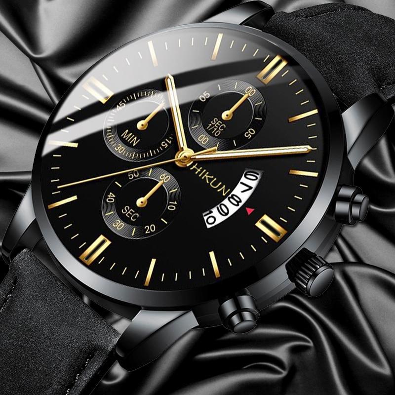 Reloj hombre Luxus Herren Uhr Mode Sport Armbanduhr Legierung Fall Leder Band Uhr Quarz Business Armbanduhr kalender Uhr